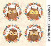 Set Of Cute Owls In Floral...