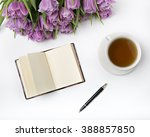spring look at the desk  lay... | Shutterstock . vector #388857850
