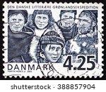 Small photo of CROATIA ZAGREB, 7 FEBRUARY 2016: a stamp printed in Denmark shows Danish Literary Greenland Expedition, Centenary, circa 2003
