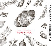 vector meat steak sketch... | Shutterstock .eps vector #388859980