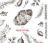 vector meat steak sketch... | Shutterstock .eps vector #388859980