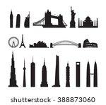 famous landmarks cityscape... | Shutterstock .eps vector #388873060