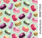 watercolor macaron seamless... | Shutterstock . vector #388873363