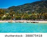 fishing boats at patong beachin ... | Shutterstock . vector #388875418