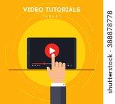 video tutorials on tablet icon... | Shutterstock .eps vector #388878778