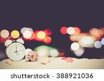 blackboard  clock and seashell... | Shutterstock . vector #388921036