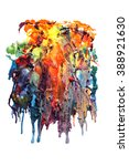 wax coloring crayons melted | Shutterstock . vector #388921630