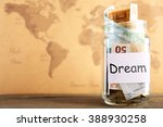 savings for trip in glass bank... | Shutterstock . vector #388930258