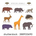 outline set of african animals. ... | Shutterstock .eps vector #388933690