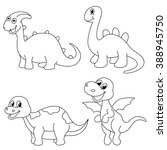 set of 4 cute  dinosaur