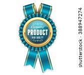 gold genuine product rosette ... | Shutterstock .eps vector #388947274