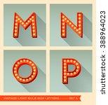 vintage light bulb sign letters ... | Shutterstock .eps vector #388964023