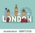flat uk  london travel... | Shutterstock .eps vector #388971928