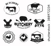butchery  meat shop logos ... | Shutterstock .eps vector #388972234