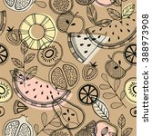 fruit seamless pattern.... | Shutterstock .eps vector #388973908