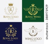 luxury  wing logo  angel logo ... | Shutterstock .eps vector #388973929