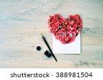 heart of flowers in an envelope ...   Shutterstock . vector #388981504