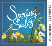 spring sales callygraphy... | Shutterstock .eps vector #388985980