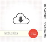 flat cloud download icon.