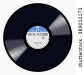 gramophone blue label vinyl lp... | Shutterstock .eps vector #389012173