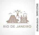 trendy line illustration of rio ... | Shutterstock .eps vector #389013568