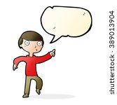 cartoon boy pointing with... | Shutterstock .eps vector #389013904