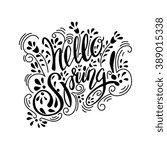 spring lettering design... | Shutterstock .eps vector #389015338
