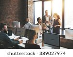 business team discussion... | Shutterstock . vector #389027974