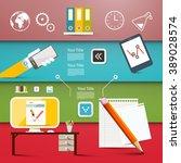 office items   vector flat... | Shutterstock .eps vector #389028574