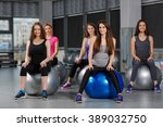 group of people in a pilates... | Shutterstock . vector #389032750