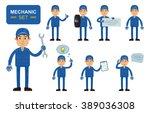set of auto mechanic characters ...   Shutterstock .eps vector #389036308