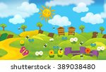 cartoon summer nature scene  ... | Shutterstock . vector #389038480