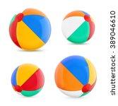 set of beach balls. beach balls.... | Shutterstock .eps vector #389046610