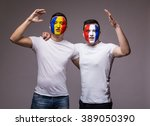 football fans of france and... | Shutterstock . vector #389050390
