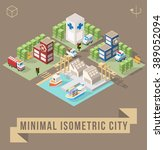 set of isolated isometric... | Shutterstock .eps vector #389052094