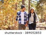 african american couple walking ...   Shutterstock . vector #389052853