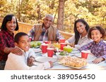 grandparents with children... | Shutterstock . vector #389056450