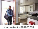 man coming home from work and... | Shutterstock . vector #389059654