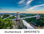 Clifton Suspension Bridge, Bristol, UK with sunset