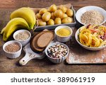 foods high in carbohydrate on a ... | Shutterstock . vector #389061919