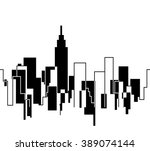 silhouette of the cityscape... | Shutterstock .eps vector #389074144
