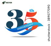 35th years anniversary label... | Shutterstock .eps vector #389077090
