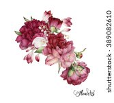 bouquet of peonies  watercolor  ... | Shutterstock . vector #389082610