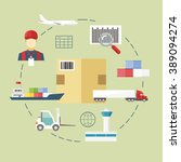 logistic flat icons set of... | Shutterstock .eps vector #389094274