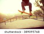 skateboarding legs at skatepark | Shutterstock . vector #389095768