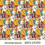 tourism crowd people color... | Shutterstock .eps vector #389119390