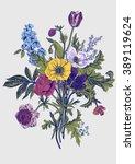 victorian bouquet. spring... | Shutterstock .eps vector #389119624