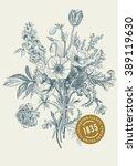 victorian bouquet. spring... | Shutterstock .eps vector #389119630