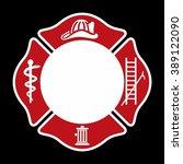 fireman emblem. fire department ... | Shutterstock .eps vector #389122090