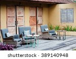outdoor patio seating with nice ... | Shutterstock . vector #389140948